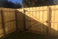 Wood slat fence